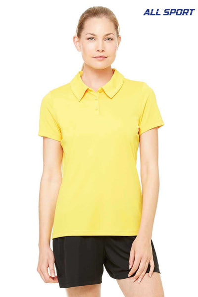 All Sport W1809 Gold Performance Polyester Short Sleeve Polo Shirt Front