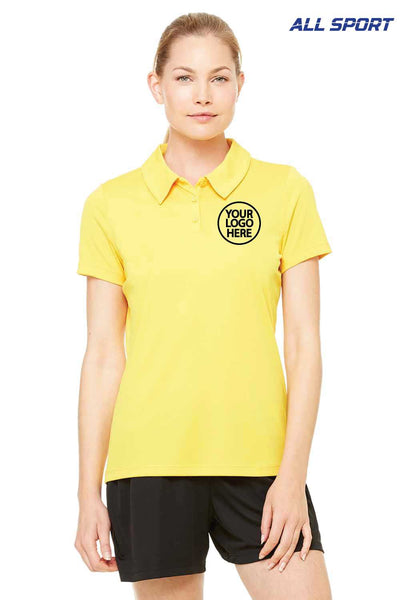 All Sport W1809 Gold Performance Polyester Short Sleeve Polo Shirt Embroidery