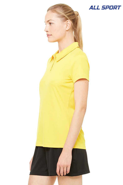 All Sport W1809 Gold Performance Polyester Short Sleeve Polo Shirt Side