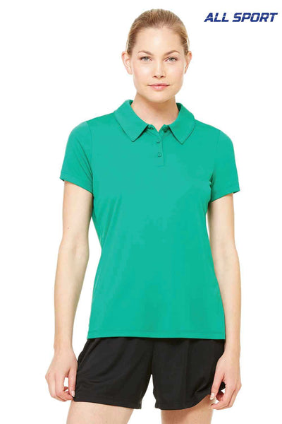 All Sport W1809 Kelly Green Performance Polyester Short Sleeve Polo Shirt Front