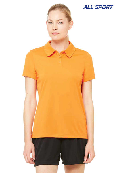 All Sport W1809 Orange Performance Polyester Short Sleeve Polo Shirt Front