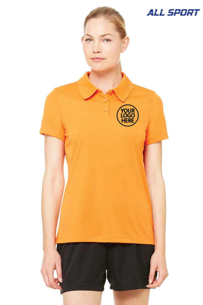 All Sport W1809 Orange Performance Polyester Short Sleeve Polo Shirt Embroidery