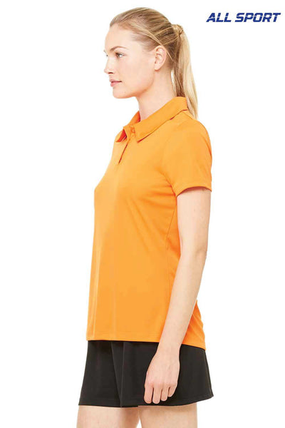 All Sport W1809 Orange Performance Polyester Short Sleeve Polo Shirt Side