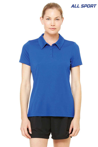 All Sport W1809 Royal Blue Performance Polyester Short Sleeve Polo Shirt Front