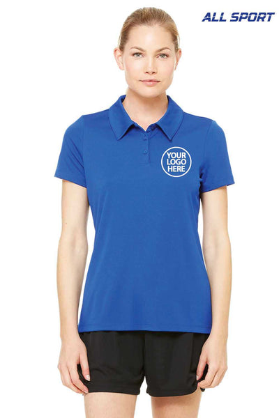 All Sport W1809 Royal Blue Performance Polyester Short Sleeve Polo Shirt Embroidery