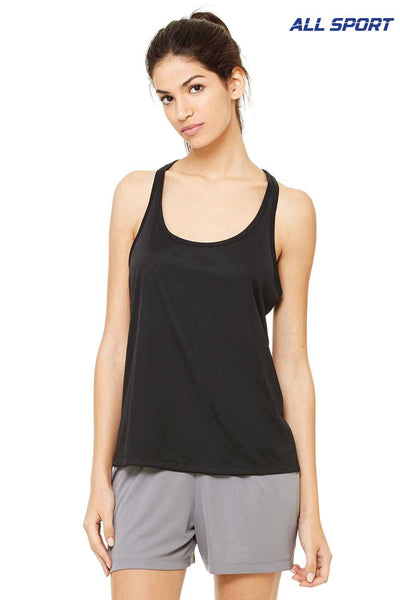 All Sport W2079 Black Performance Polyester Racerback Tank Top Front