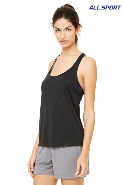 All Sport W2079 Black Performance Polyester Racerback Tank Top Side
