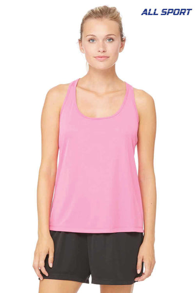 All Sport W2079 Charity Pink Performance Polyester Racerback Tank Top Front