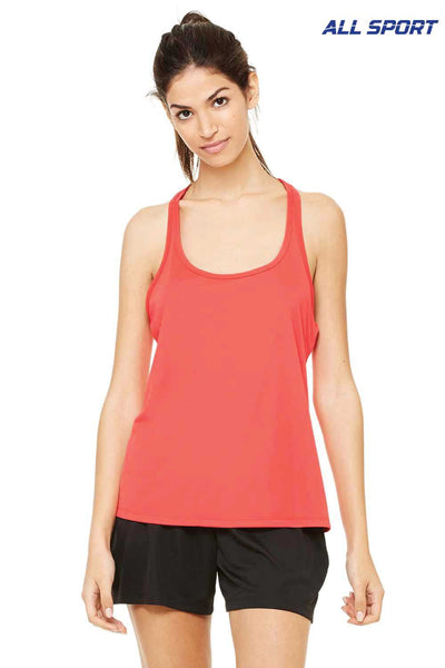 All Sport W2079 Red Performance Polyester Racerback Tank Top Front