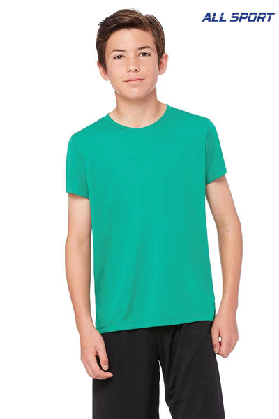 All Sport Y1009 Kelly Green Performance Polyester Short Sleeve Crewneck T-Shirt Front