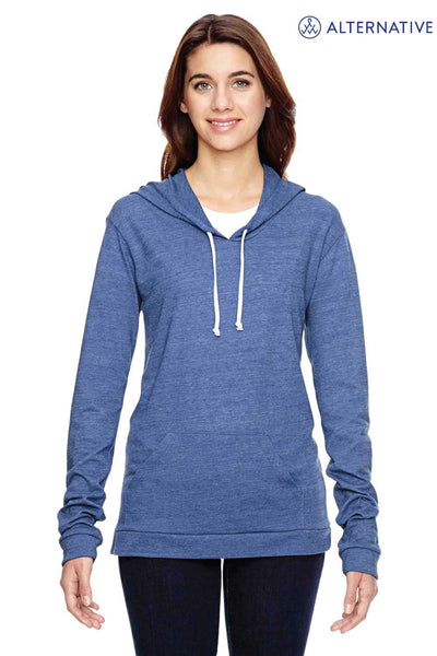 Alternative 01928E1 Eco Blue Classic Eco Jersey Triblend Hooded Sweatshirt Hoodie Front