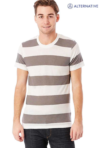 Alternative 01973EA Eco Grey/White Stripe Printed Eco Jersey Triblend Short Sleeve Crewneck T-Shirt Front