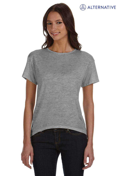 Alternative 02623B2 Heather Ash Grey Pony Melange Burnout Blend Strap Back Short Sleeve Crewneck T-Shirt Front