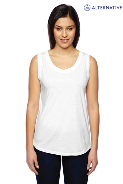 Alternative 02830MR Eco White Muscle Blend Tank Top Front