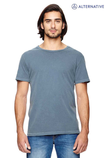 Alternative 04850C1 Dark Blue Heritage Garment Dyed Cotton Distressed Short Sleeve Crewneck T-Shirt Front