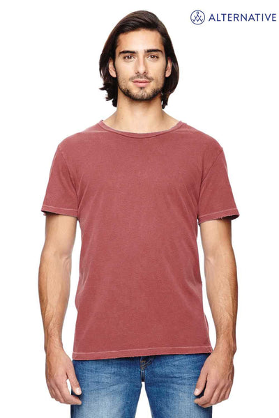 Alternative 04850C1 Red Heritage Garment Dyed Cotton Distressed Short Sleeve Crewneck T-Shirt Front