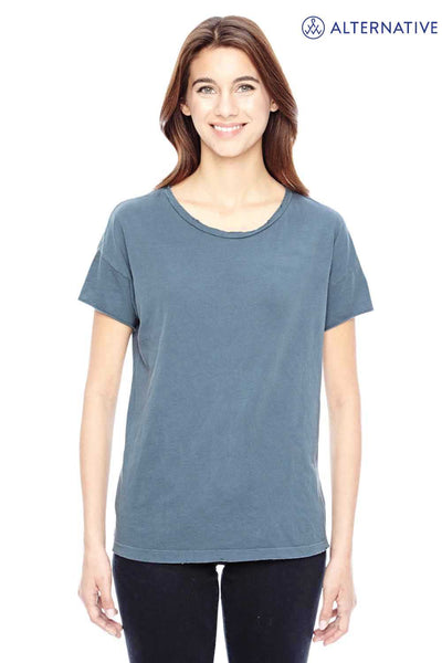 Alternative 04861C1 Dark Blue Rocker Garment Dyed Cotton Distressed Short Sleeve Crewneck T-Shirt Front