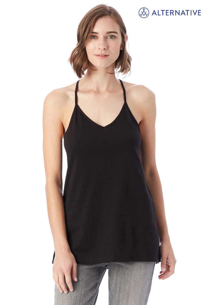 Alternative 04863C1 Black Strappy Satin Cotton Jersey Tank Top Front