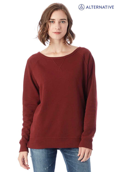 Alternative 05068BT Maroon Reversible Scrimmage Vintage French Terry Blend Crewneck Sweatshirt Front