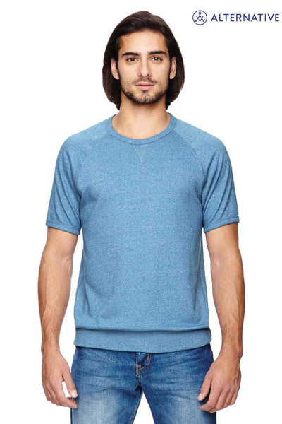 Alternative 09874E Eco Blue Gym Rat 2.0 Eco Mock Twist Blend Short Sleeve Crewneck Sweatshirt Front