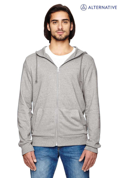 Alternative 09880E Eco Grey Rocky Eco Mock Twist Blend Hooded Sweatshirt Hoodie Front