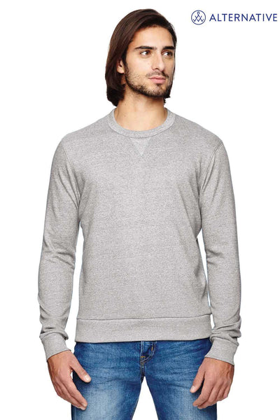 Alternative 09898E Eco Grey Champ Eco Mock Twist Blend Ringer Crewneck Sweatshirt Front