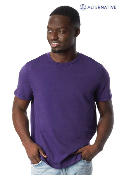 Alternative 1010CG Purple Outsider Cotton Short Sleeve Crewneck T-Shirt Front