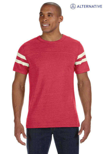 Alternative 12150E1 Eco Red/Ivory White Eco Jersey Triblend Football Short Sleeve Crewneck T-Shirt Front