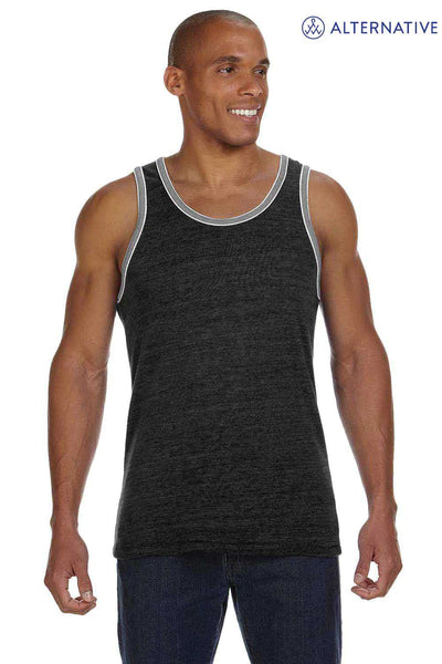 Alternative 22060E1 Eco Black/Grey Double Ringer Eco Jersey Triblend Tank Top Front