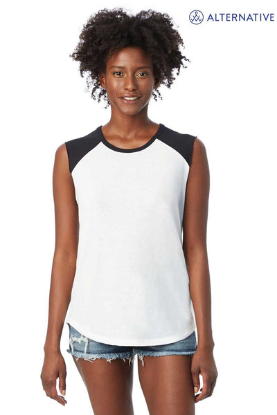 Alternative 5104BP White/Black Team Player Blend Tank Top Front
