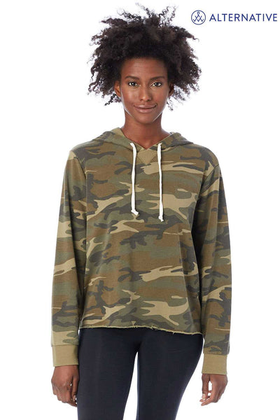 Alternative 8628F Camo Day Off Blend Hooded Sweatshirt Hoodie Front
