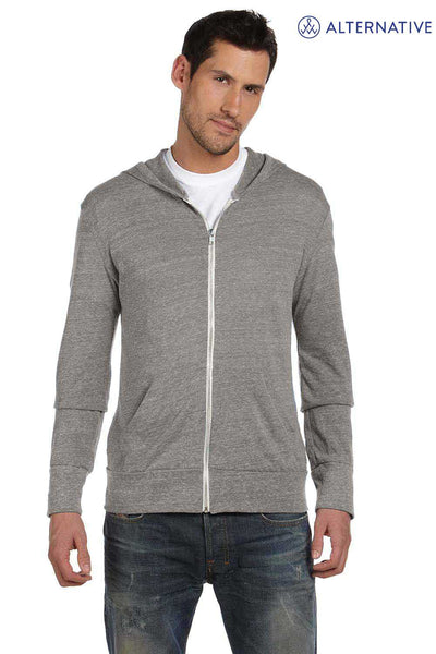 Alternative AA1970 Eco Grey Eco Jersey Triblend Hooded Sweatshirt Hoodie Front