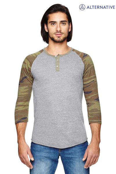 Alternative AA1989 Eco Grey/Camo Eco Jersey Triblend Raglan Henley 3/4 Sleeve T-Shirt Front