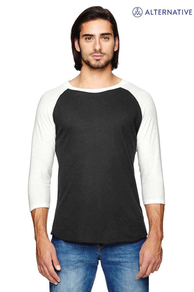 Alternative AA2089 Eco Black/Ivory White Eco Jersey Triblend 3/4 Sleeve Crewneck Baseball T-Shirt Front