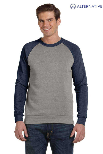 Alternative AA3202 Eco Grey/Navy Blue Champ Eco Fleece Colorblock Crewneck Sweatshirt Front