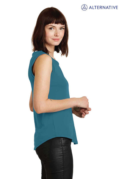 Alternative AA4013 Peacock Blue Satin Cotton Jersey Tank Top Side