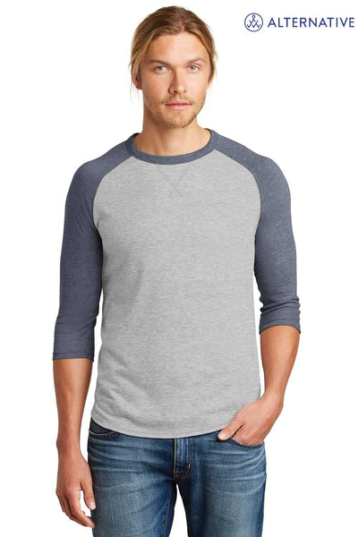 Alternative AA5057 Silver Grey/Navy Blue Dugout Vintage Blend 3/4 Sleeve Crewneck Baseball T-Shirt Front