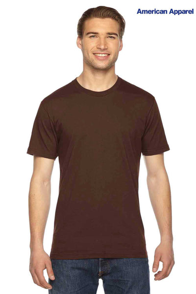 American Apparel 2001 Brown USA Made Fine Cotton Jersey Short Sleeve Crewneck T-Shirt Front
