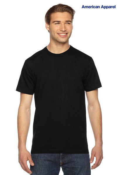 American Apparel 2001W Black Fine Cotton Jersey Short Sleeve Crewneck T-Shirt Front