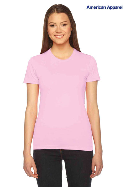 American Apparel 2102 Pink USA Made Fine Cotton Jersey Short Sleeve Crewneck T-Shirt Front