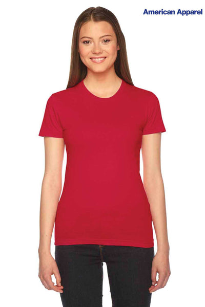 American Apparel 2102 Red USA Made Fine Cotton Jersey Short Sleeve Crewneck T-Shirt Front