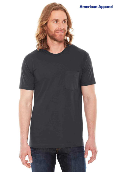 American Apparel 2406 Coal Grey USA Made Fine Cotton Jersey Short Sleeve Crewneck T-Shirt w/ Pocket Front
