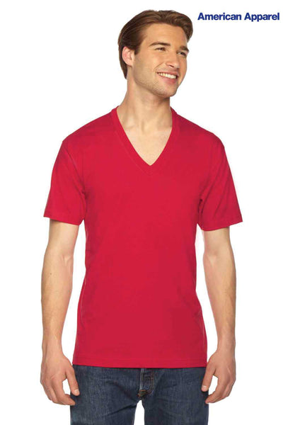 American Apparel 2456 Red Fine Cotton Jersey Short Sleeve V-Neck T-Shirt Front