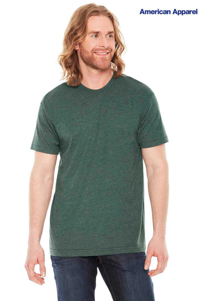 American Apparel BB401 Heather Forest Green USA Made Blend Short Sleeve Crewneck T-Shirt Front