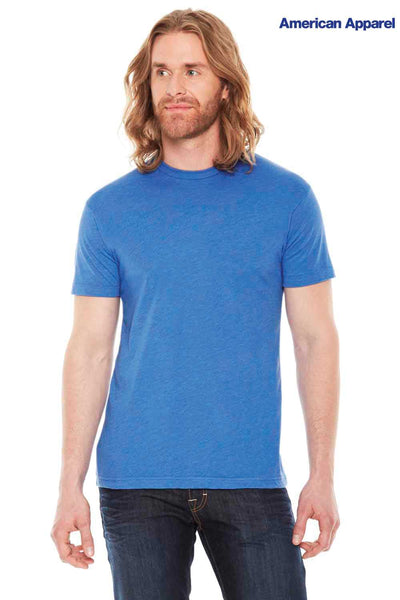 American Apparel BB401 Heather Lake Blue USA Made Blend Short Sleeve Crewneck T-Shirt Front