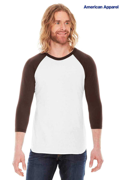 American Apparel BB453 White/Brown USA Made Raglan Blend 3/4 Sleeve Crewneck T-Shirt Front