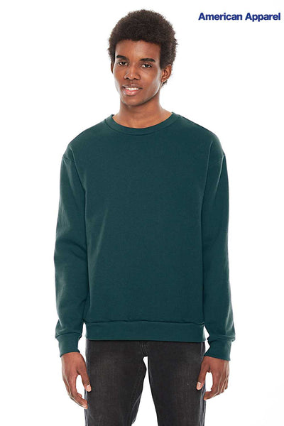 American Apparel F496W Forest Green Flex Fleece Drop Shoulder Crewneck Sweatshirt Front