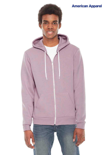 American Apparel F497 Mauve Purple USA Made Flex Fleece Hooded Sweatshirt Hoodie Front