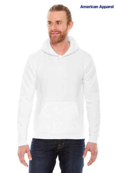 American Apparel F498W White Flex Fleece Drop Shoulder Hooded Sweatshirt Hoodie Front
