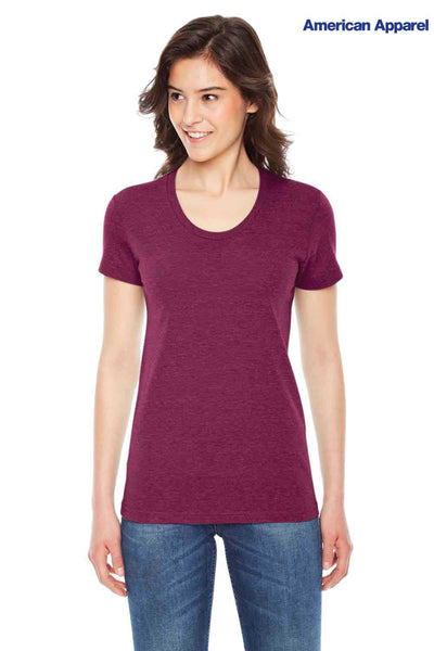 American Apparel TR301 Cranberry Red USA Made Track Triblend Short Sleeve T-Shirt Front